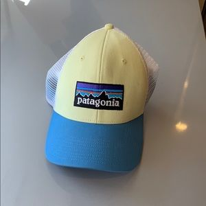 Yellow and blue Patagonia hat